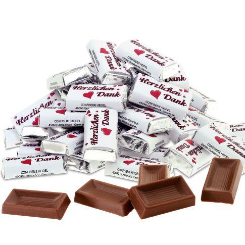 """Schokoladentäfelchen """"Herzlichen Dank"""", 100-tlg., Edel-Vollmilchschokolade (Kakao 37% mind.) Vorderansicht"""