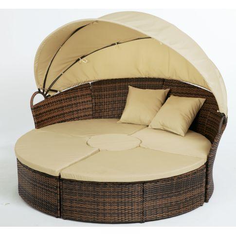 sonneninsel 5 tlg mit sonnendach luxuri s kunstrattan. Black Bedroom Furniture Sets. Home Design Ideas
