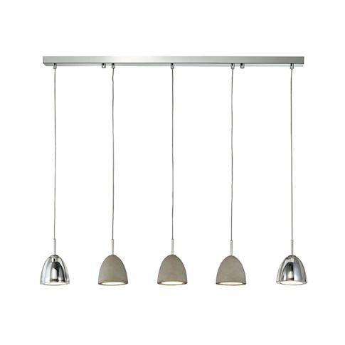 Deckenleuchte, drei Betonschirme, zwei Glasschirme, Chromdetails Vorderansicht
