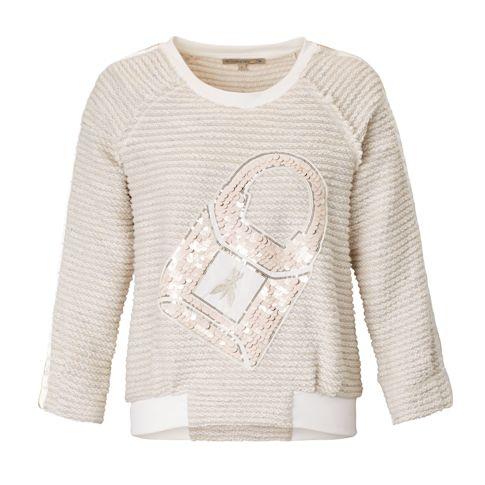 Sweatshirt, Bouclé, Paillettenbesatz Vorderansicht