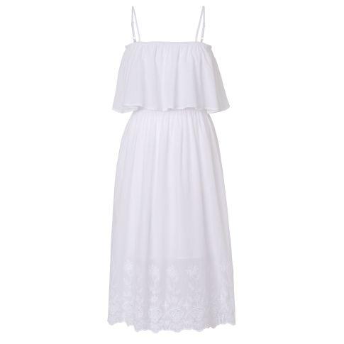 Kleid, Carmenausschnitt, Volant, Stickerei, Romantik-Look Vorderansicht
