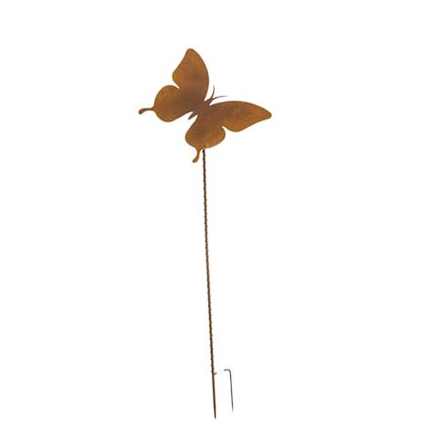 Rankstange Schmetterling, Gartenstecker Rost, Metall, Höhe ca. 115 cm Vorderansicht