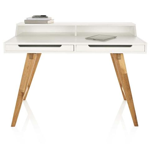 sekret r zwei schubladen schr ge beine walnussbaumholz mdf schreibtisch tische wohnen. Black Bedroom Furniture Sets. Home Design Ideas