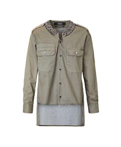 Bluse, Schmuckstein-Dekor, Used-Style, leger geschnitten, Army-Look Vorderansicht