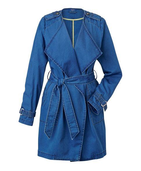 Mantel, Trench-Optik, leger geschnitten, Used-Look Vorderansicht