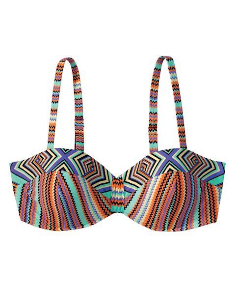 Bikinitop, vorgeformte Cups, Bügel, abnehmbare Träger, Ethno-Look Vorderansicht