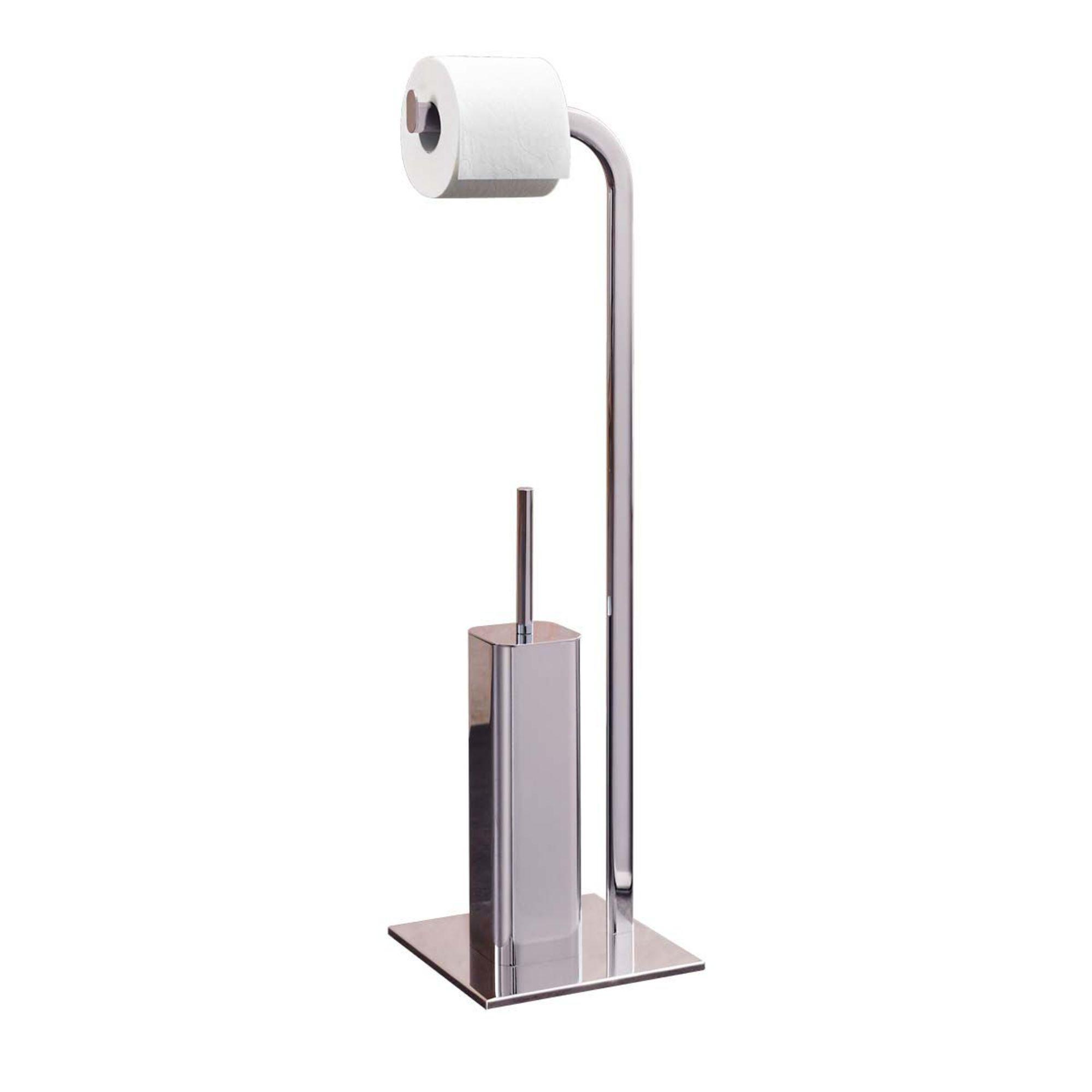 stand toilettenpapierhalter b rstenst nder aus verchromten metall mit wc b rste ebay. Black Bedroom Furniture Sets. Home Design Ideas