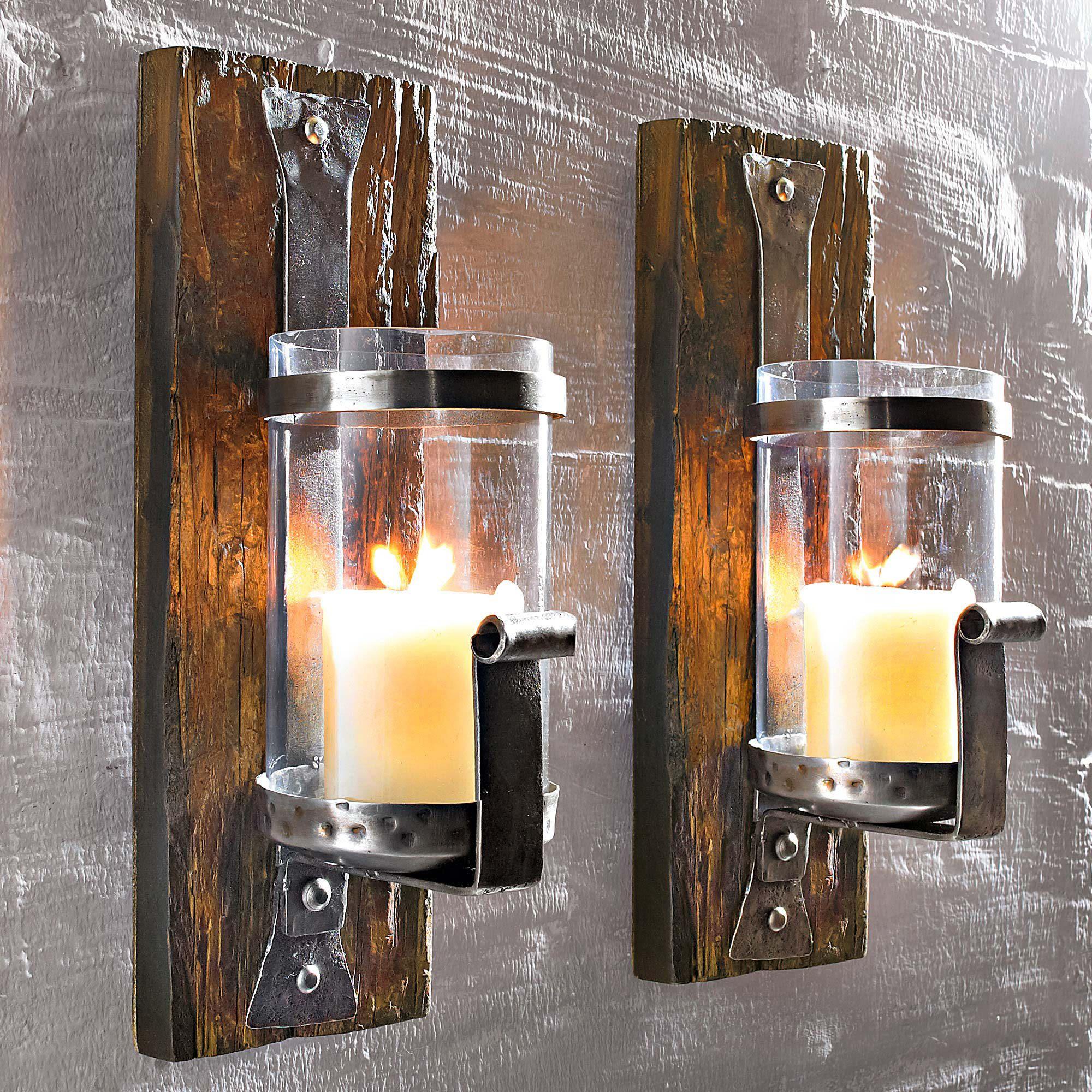 wand kerzenhalter wood aus pinienholz antik kerzenst nder wandkerzenhalter ebay