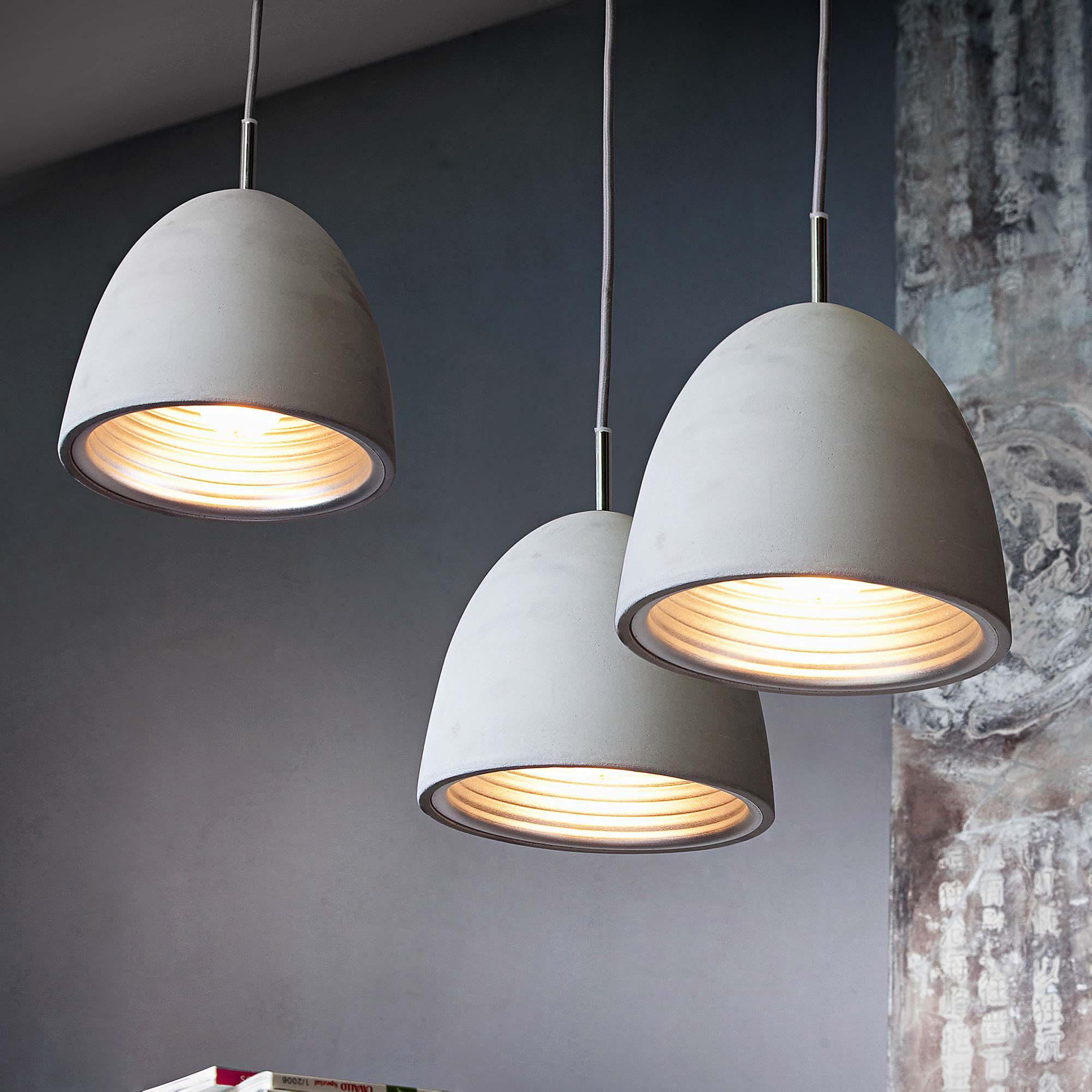 deckenleuchte 3x beton lampe textilkabel gold 19 farben w hlbar deckenschiene 113 cm. Black Bedroom Furniture Sets. Home Design Ideas