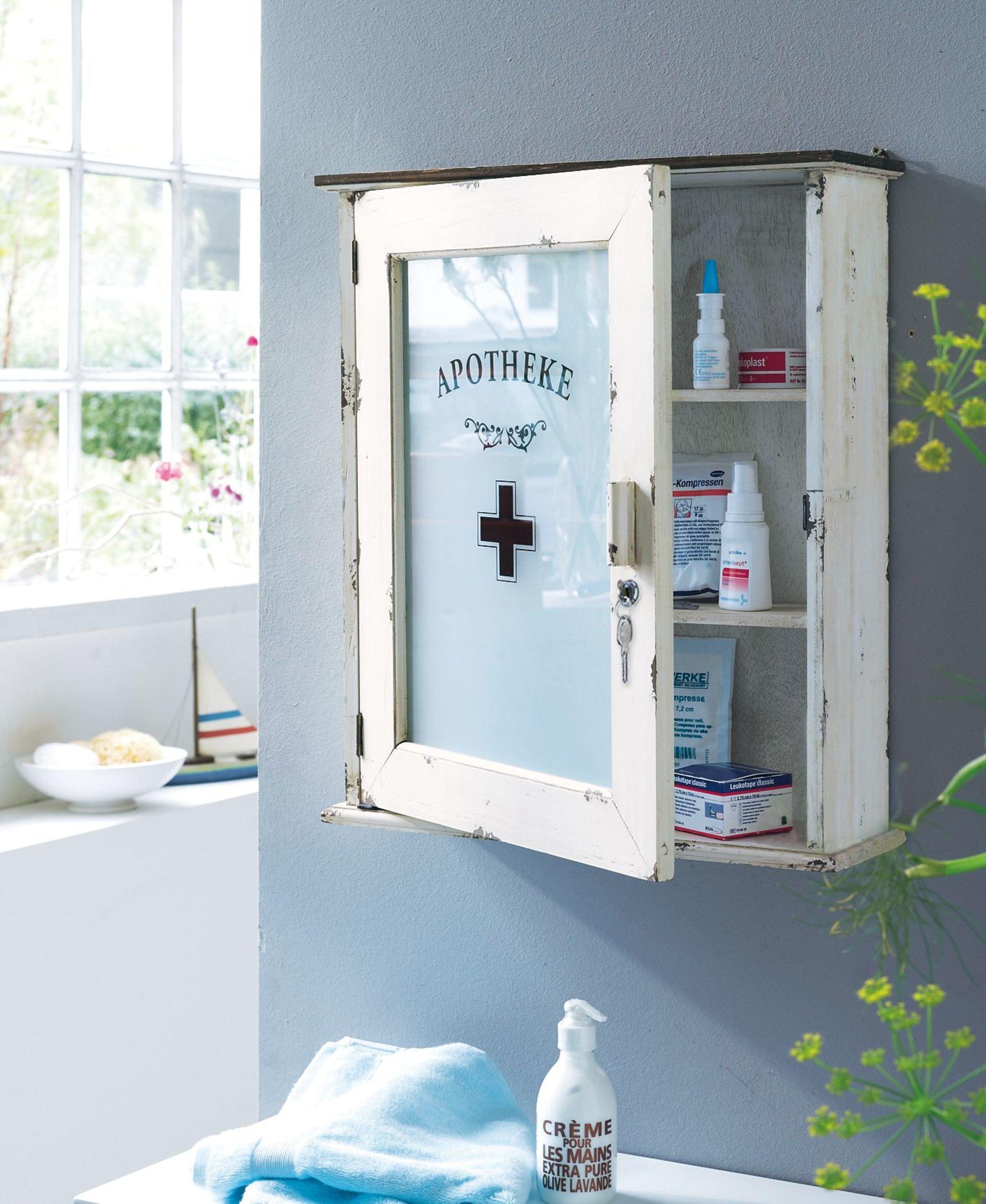 medizinschrank altwei shabby chic design abschlie bar ebay. Black Bedroom Furniture Sets. Home Design Ideas