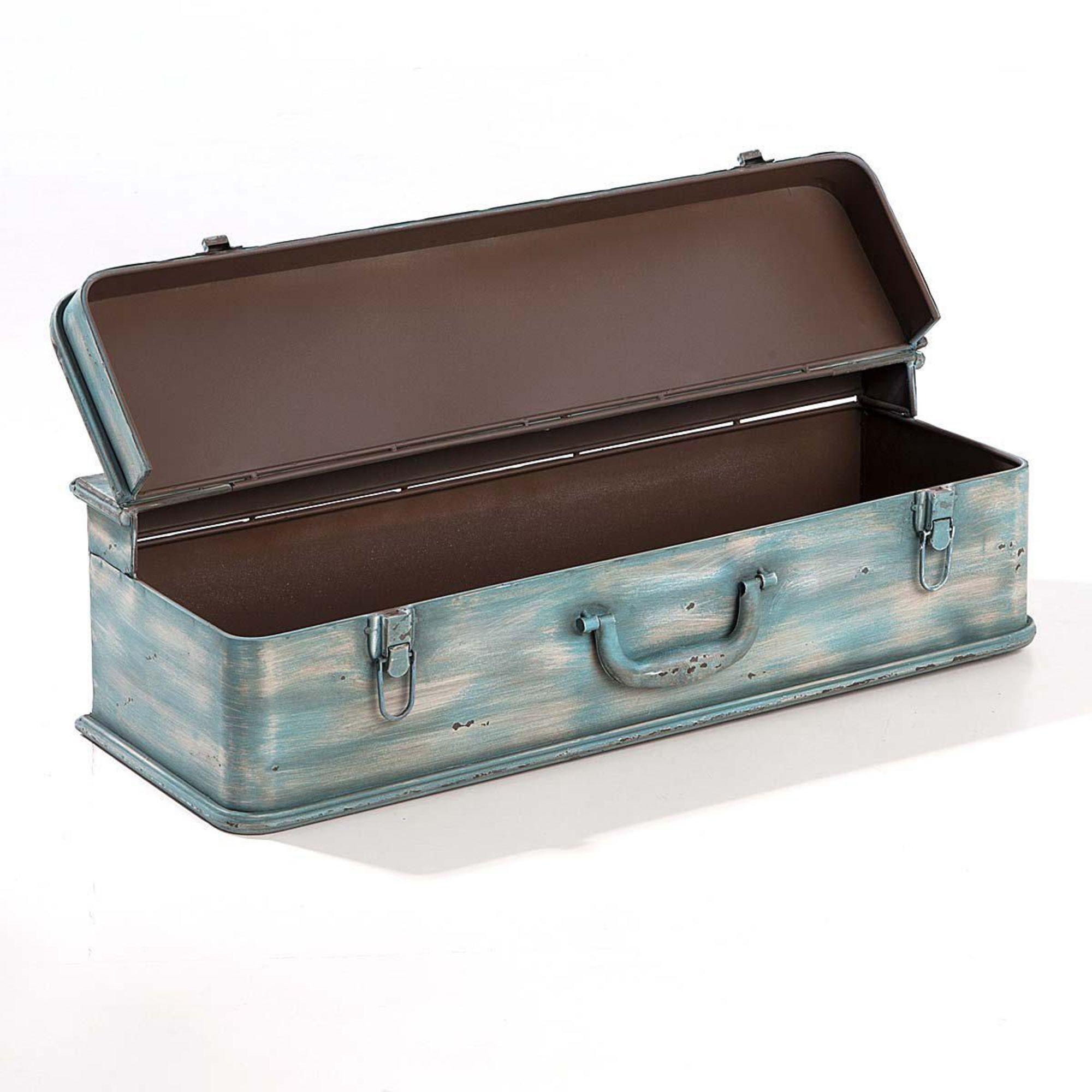 wandregal koffer blau truhe vintage wandtruhe b66 x t23 x h18 5 cm. Black Bedroom Furniture Sets. Home Design Ideas