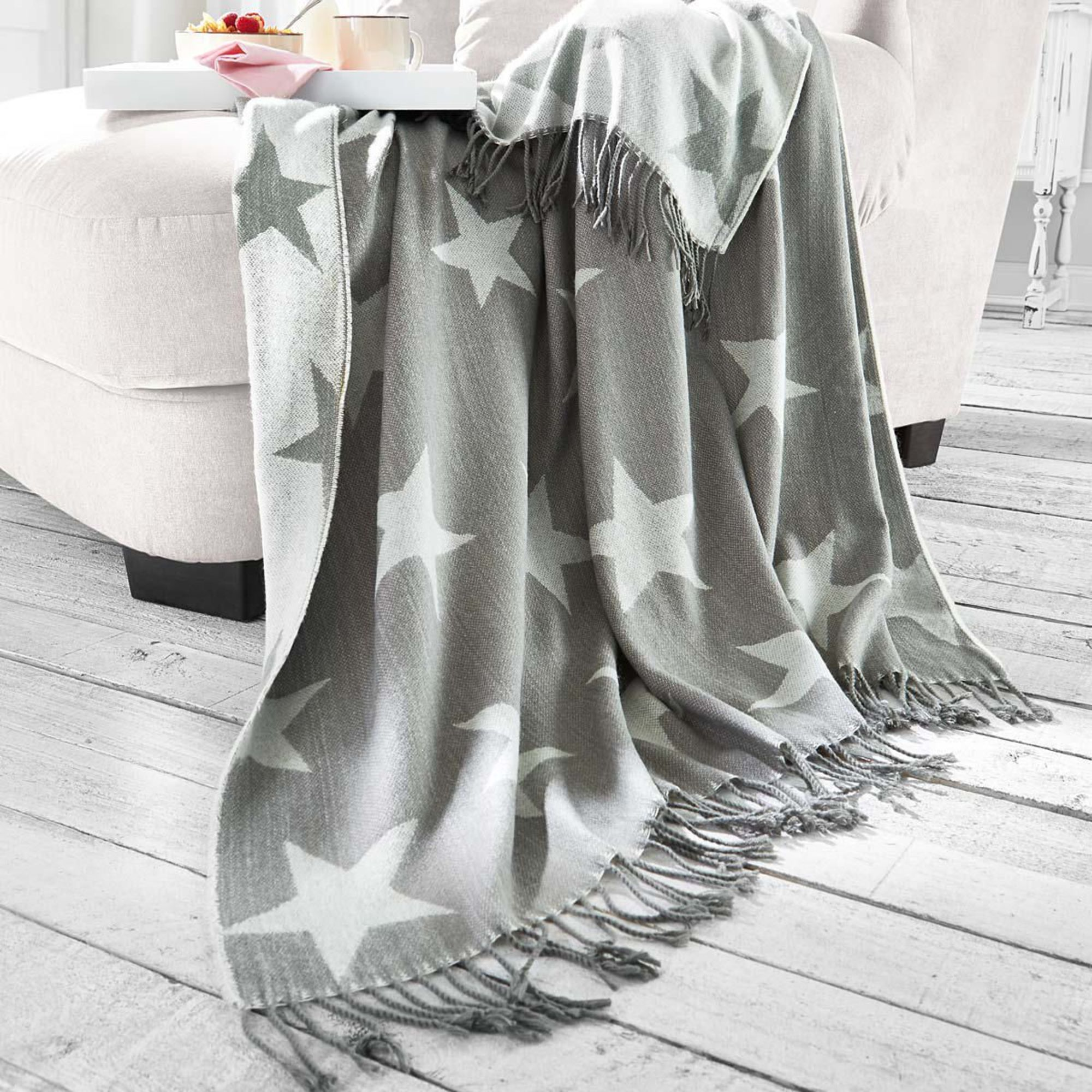 wohndecke sterne grau kuscheldecke wohnzimmerdecke stoffdecke couch decke ebay. Black Bedroom Furniture Sets. Home Design Ideas