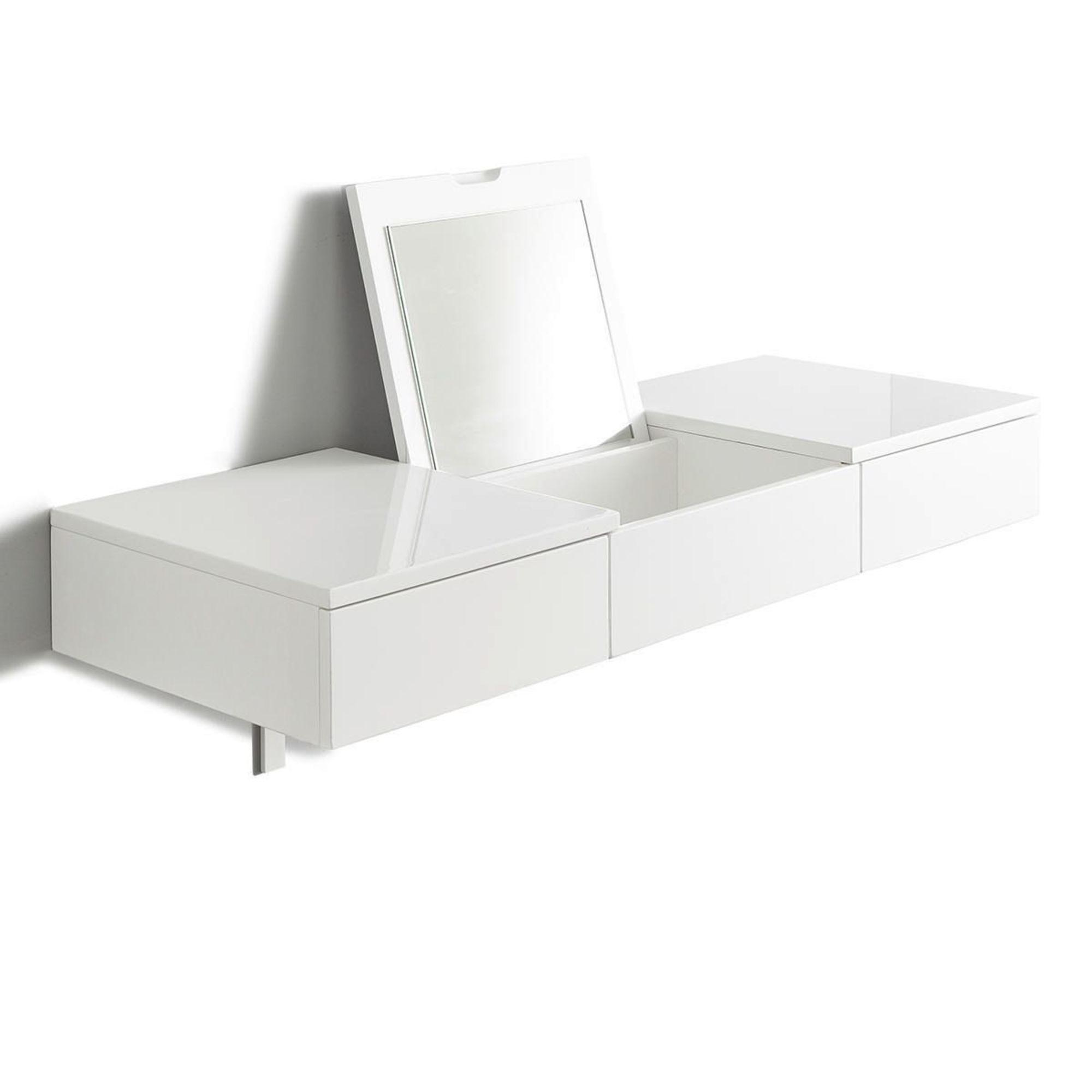 schminktisch wandkonsole mit spiegel in wei zur wandmontage mit klappdeckel ebay. Black Bedroom Furniture Sets. Home Design Ideas