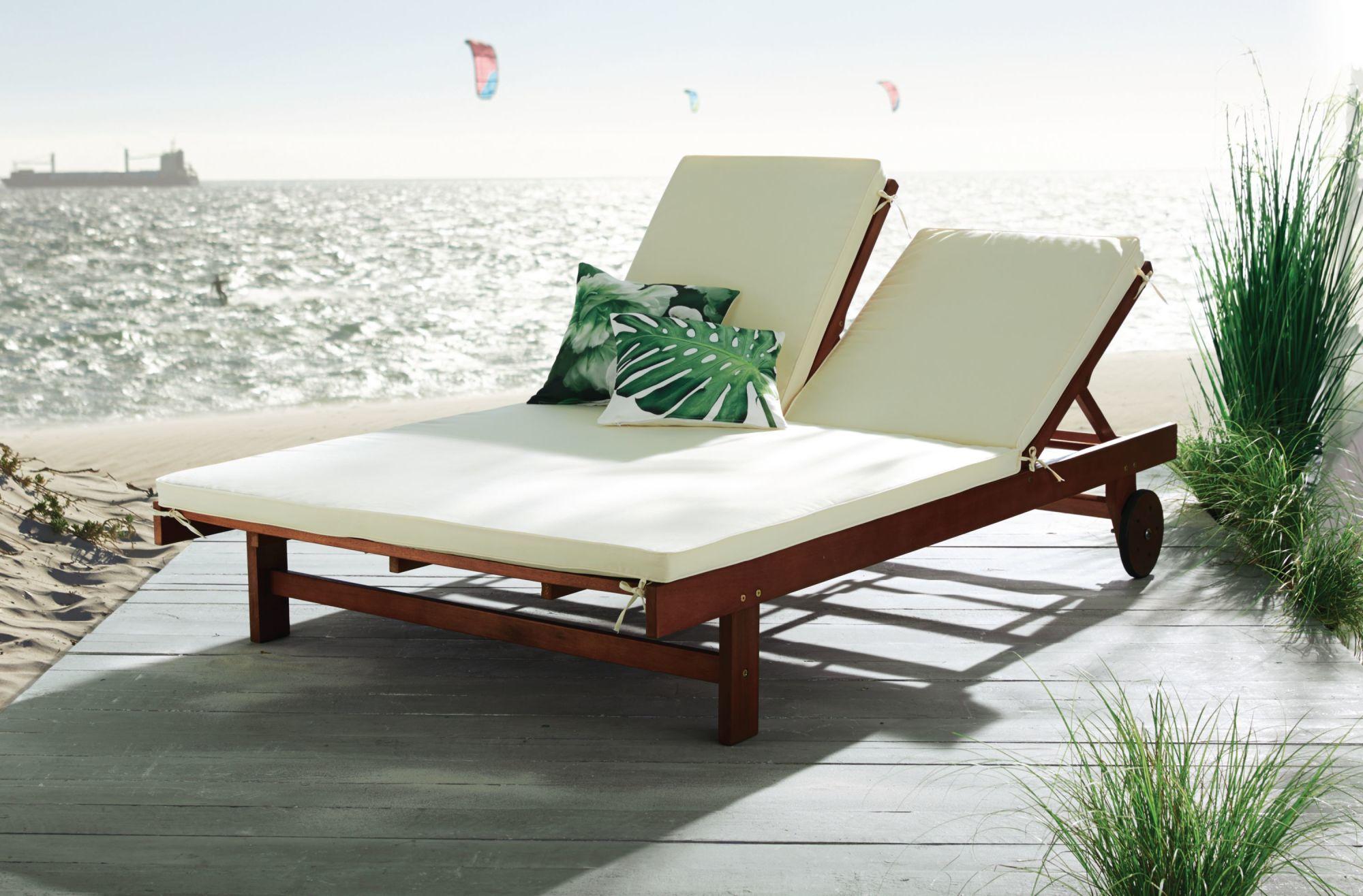 Sonnenliege holz mit auflage  Gartenliege Duo, für 2 Personen verstellbare Rückenlehnen 2 Räder ...