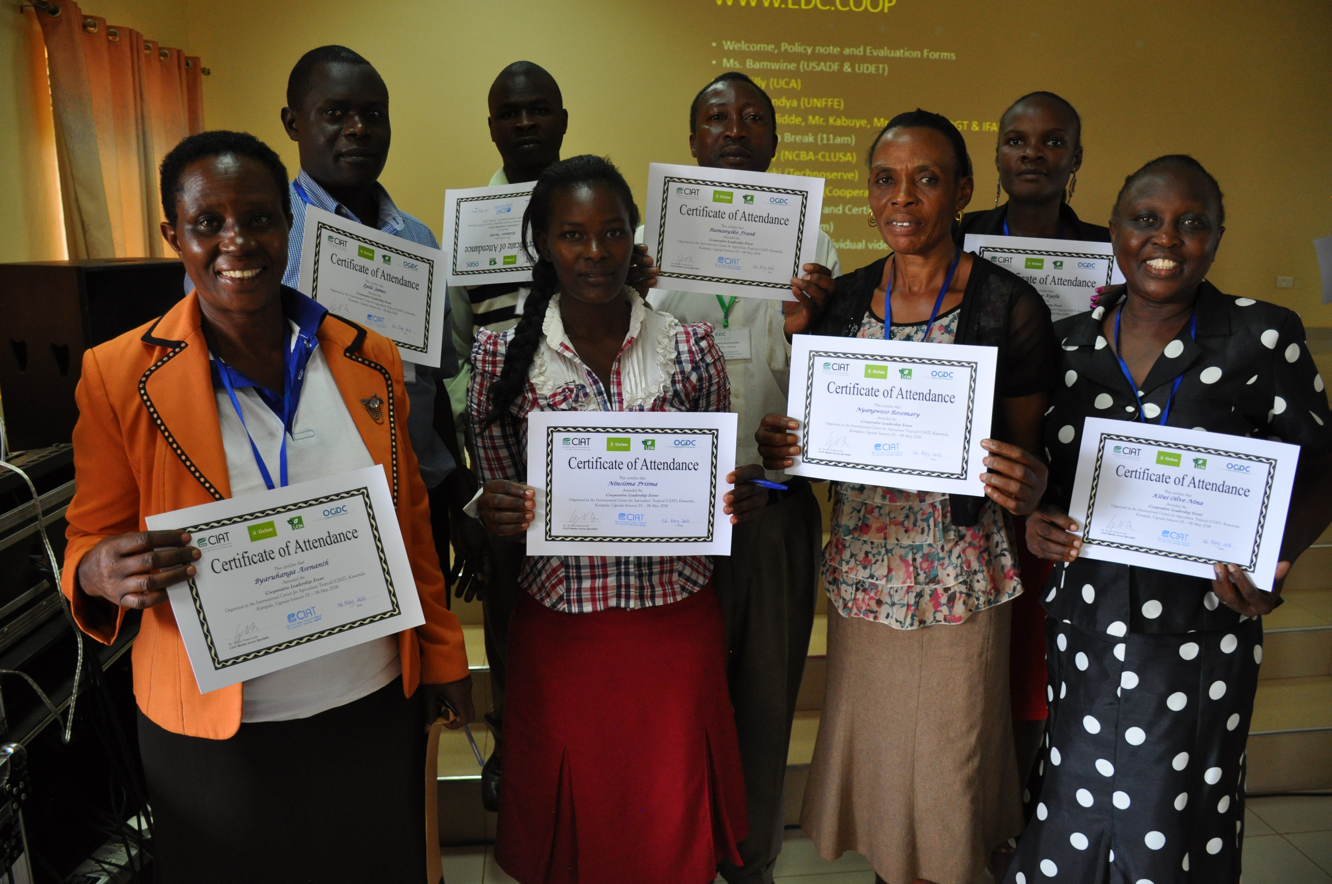 Some of the leaders and managers of African cooperatives who were trained