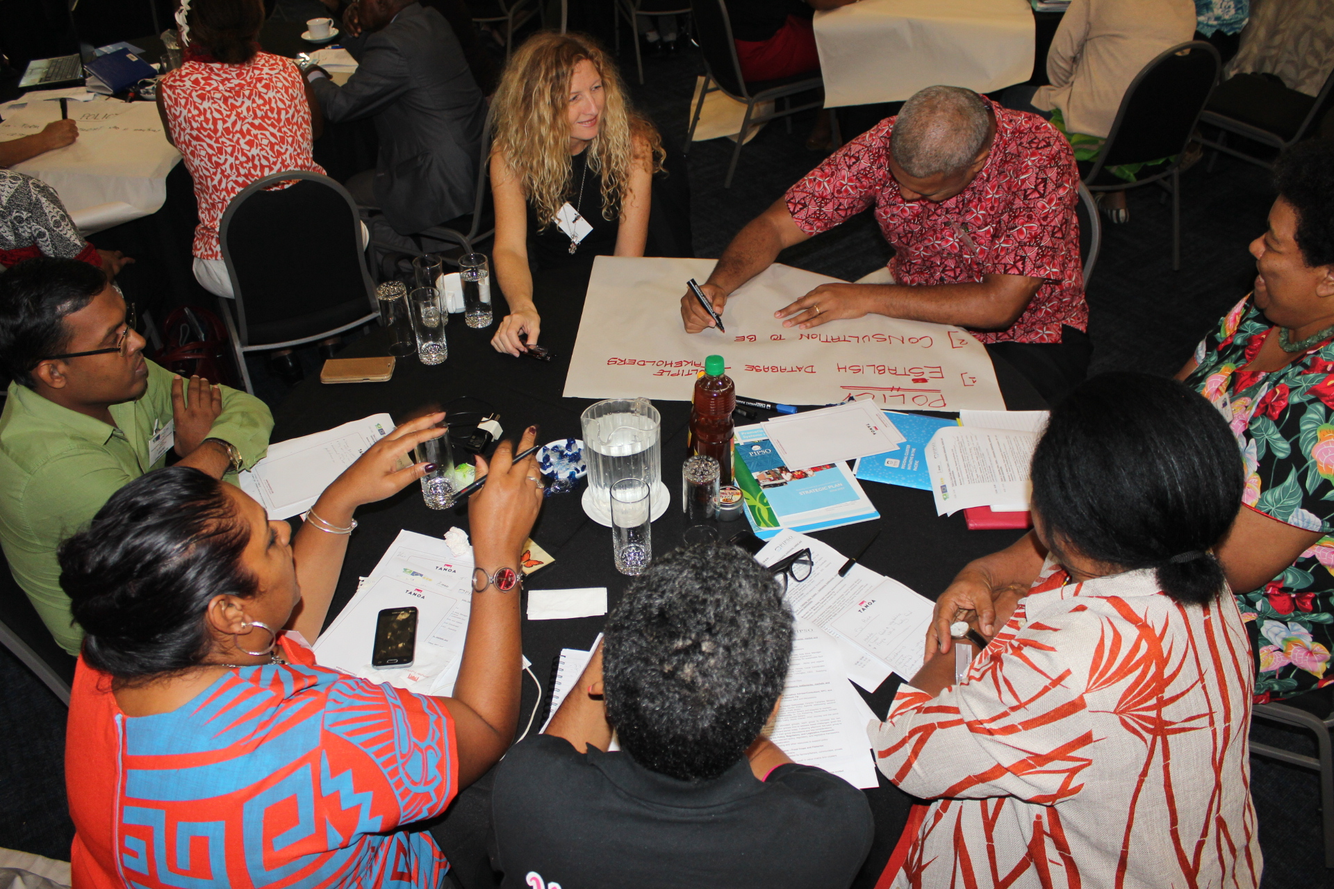 Participants discussing and suggesting strategies during roundtable exercises