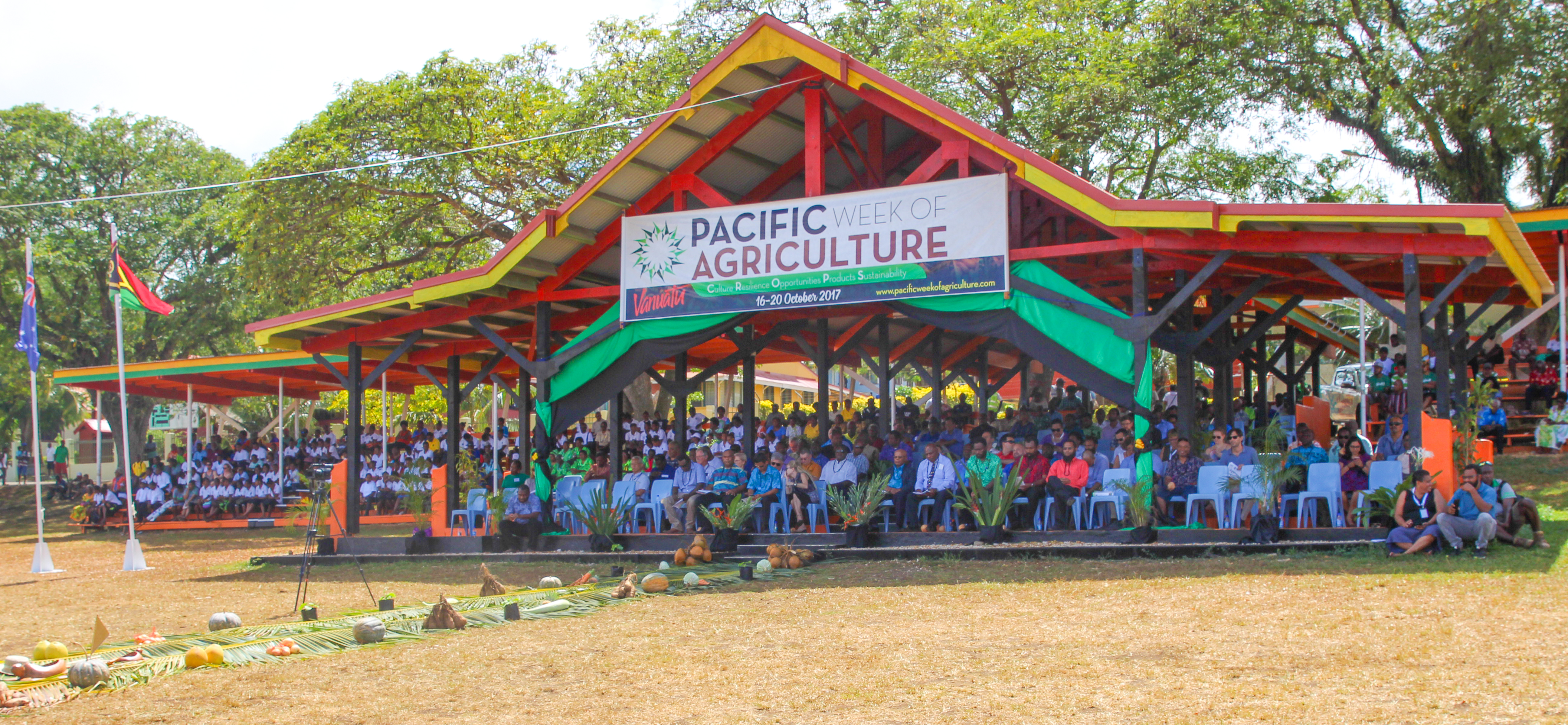 Official guests and dignitaries at the Grand Stand in Independence Park during the opening ceremony on the first ever pacific Week of Agriculture