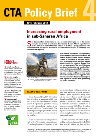 Increasing rural employment in sub-Saharan Africa - CTA Policy Brief No. 4