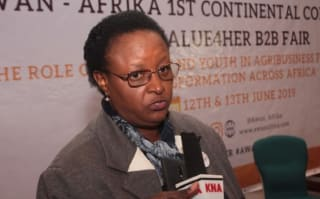 Assistant Director of Agriculture Jacinta Ngwiri speaking during the first African Women Agribusiness Network (AWAN) continental conference