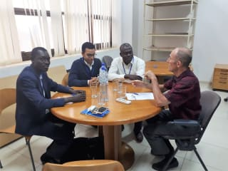 Francis Kabore (left) meeting Marc Casteran, in charge of rural development programmes at the EU Delegation in Ouagadougou, Burkina Faso, November 2018