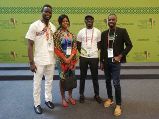 Marc Bappa Se (left) along with other young professionals at the 2018 AGRF conference, in Kigali, Rwanda