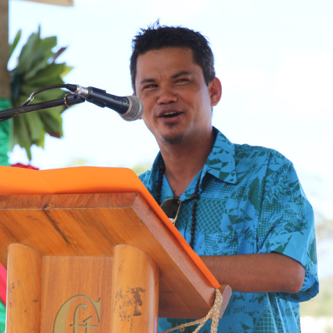 Minister of Agriculture Matai Seremaiah at the inaugural ceremony of the  PWA 2017 at the Independence Park in Port-Vila, Vanuatu