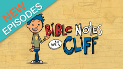Bible notes with cliff