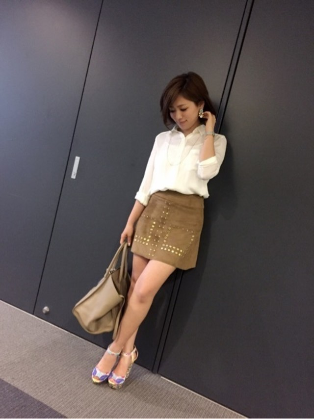 旬コーデに見える台形スカート♡ ブラウンをチョイスして秋スタイルに