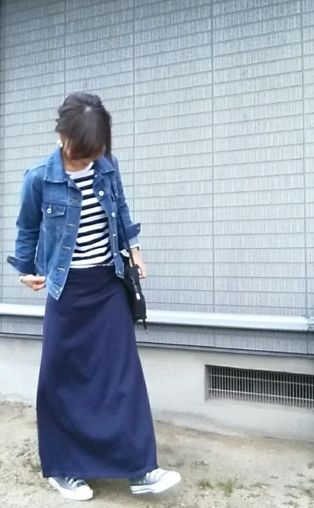 ママ向け♡ スカート×スニーカーコーデ