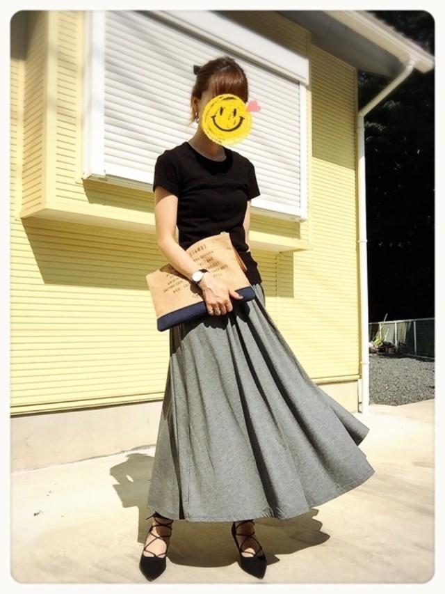女を上げるGUのグレーマキシスカート♪
