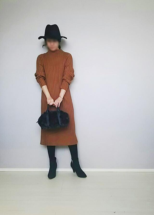 リブニットワンピースは大人可愛くシンプルに着る♪