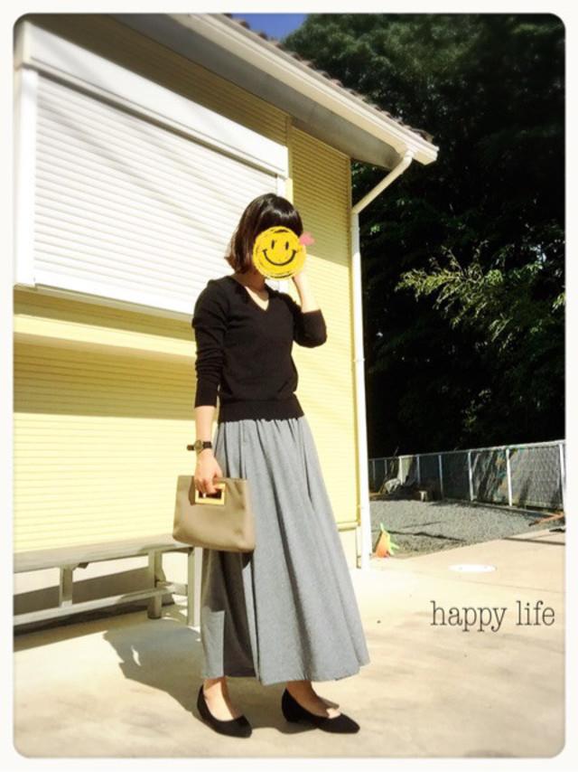 きれいめなお家コーデに♪ GUのゆるっと楽ちんマキシスカート