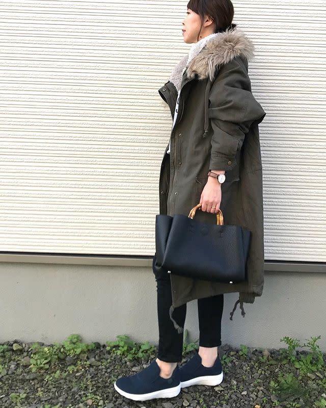 【40代女性×旅行コーデ】着回しやすいモッズコートを取り入れて