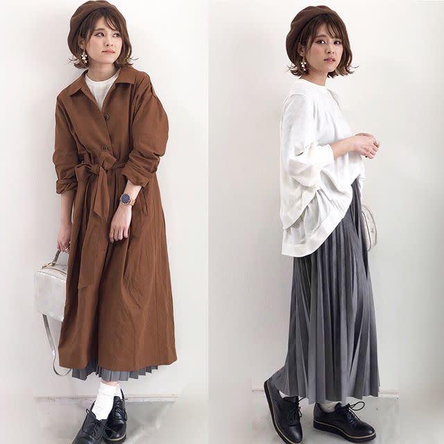 きれいめスカートもデニムも♪ 白インナーでブラウンのトレンチコートを軽やかに