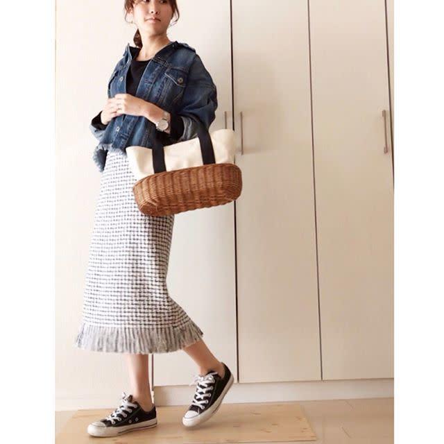 ツイードスカート×デニムジャケット