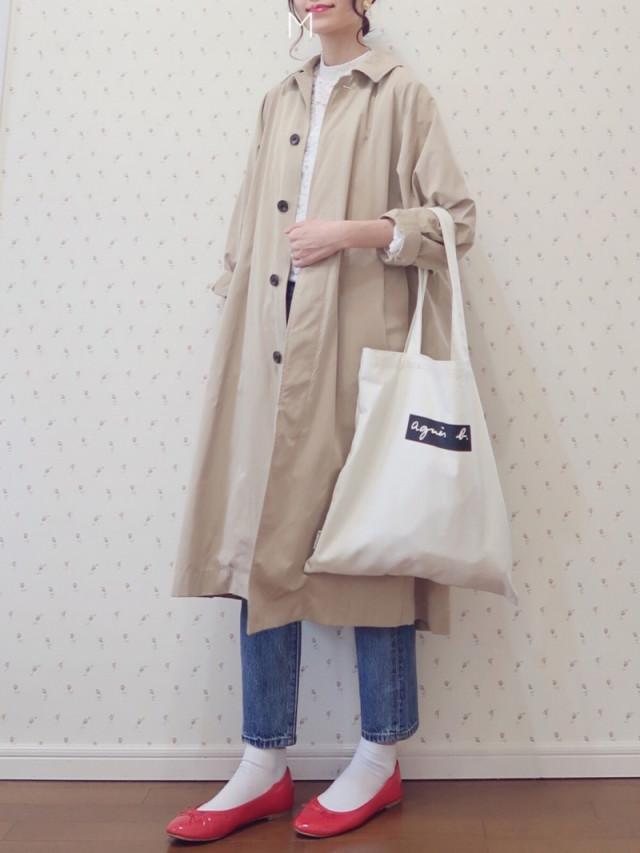 【ステンカラーコート/02】細めのデニムパンツでメリハリコーデ