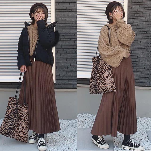 トレンド狙いならブラウンのロングプリーツスカート
