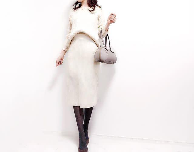 オールホワイトで、柔らかな女らしさを強調!