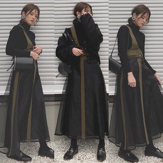 【ワンショルダージャンパースカート/01】チュールとの切り替えが素敵