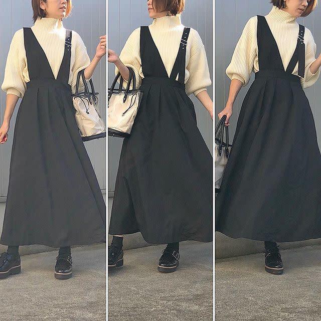 ショルダーストラップが個性的なジャンパースカートも登場!