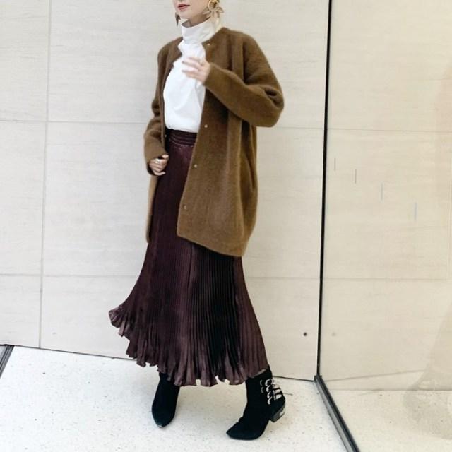 DHOLICのロングプリーツ&フレアスカートで今っぽいきれいめ感