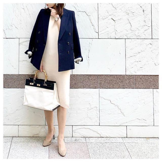 春の通勤服3:きちんとコーデの定番、ワンピース×ジャケット