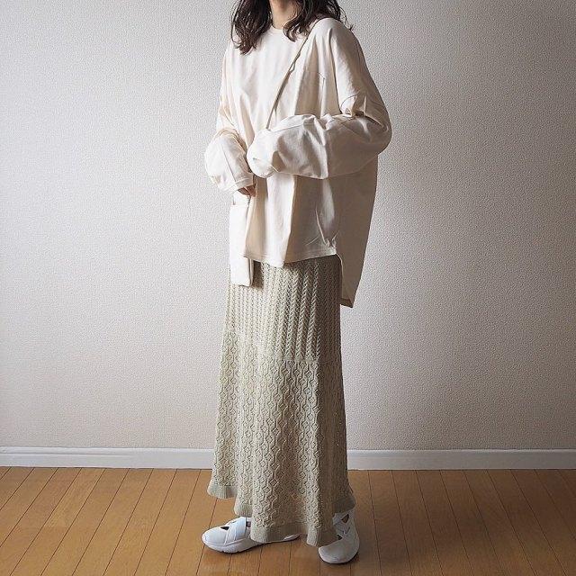 1. トレンドの「クロシェ編みミントグリーンスカート」