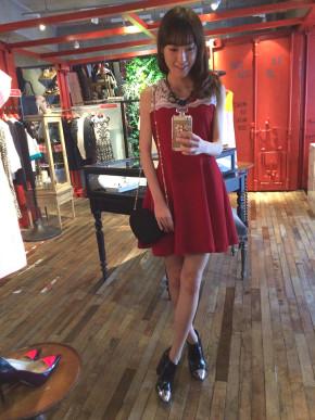 e6e107037e7fb ドレス ノースリーブ レッド ミニ ビジュー 秋冬 ギグアントの ...