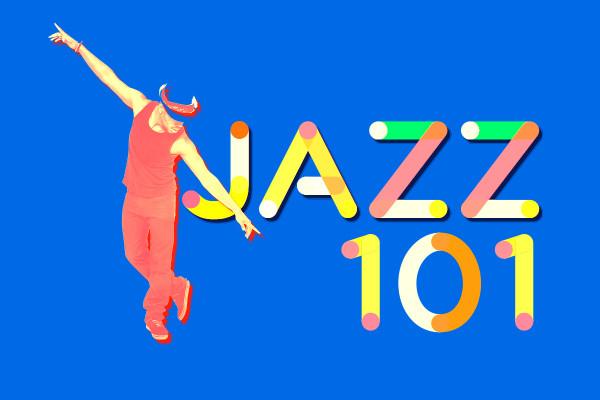 Jazz dance instructor over letters jazz 101
