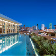 Rooftop pool at dusk at AMLI Design District