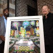 Whitney Mercilus, Charles Fazzino at Bosscat Kitchen Super Bowl party