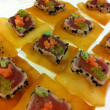 Wedding food trends, February 2013, Seared Sesame Tuna on Wontons, A La Carte Catering & Events
