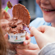 kids eating cup of Italian gelato