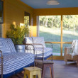 Screened-in porch with daybed